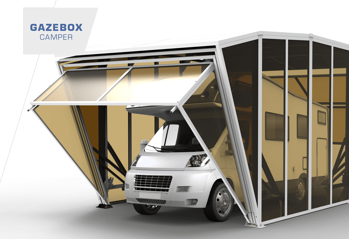 Gazebox camper foldable caravan carport garage storage for Rv trailer with garage